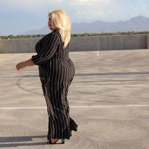 Dresses - Striped Jumpsuit